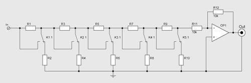 схема регулятора громкости с инвертирующим усилителем