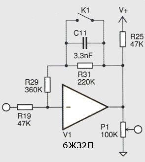 структурная схема предварительного усилителя на лампе 6Ж32П