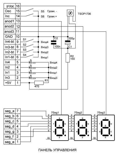 панель управления регулятором громкости Никитина