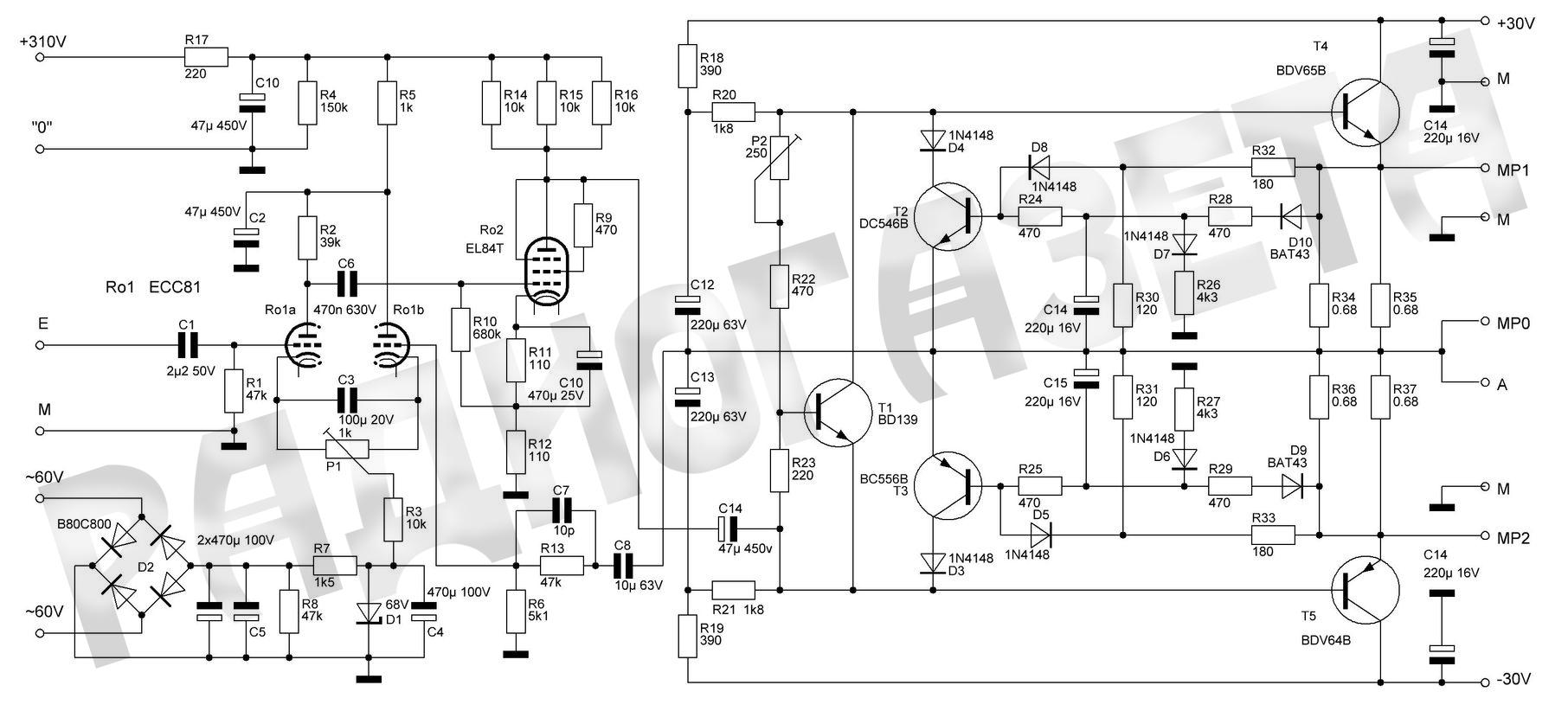 Гибридный усилитель: SRPP на лампах + УМЗЧ на полевых ...