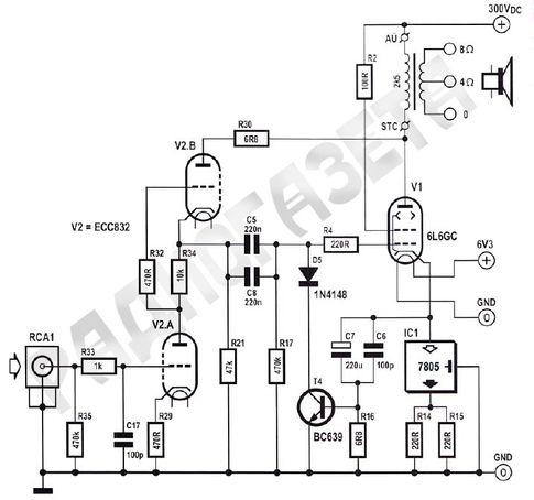Схема лампового усилителя мощности на пентоде