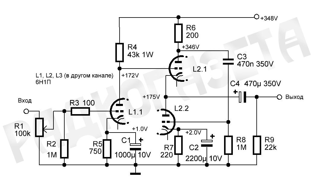 Корректор riaa на сверминиатюрных лампах 6н17б и 6н16б