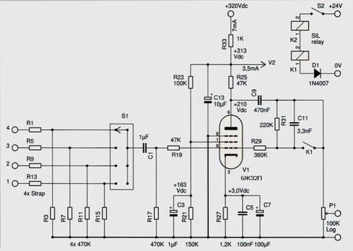 Принципиальная схема предварительного усилителя на лампе 6Ж32П